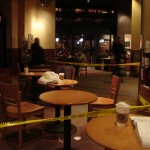 police tape in Starbucks