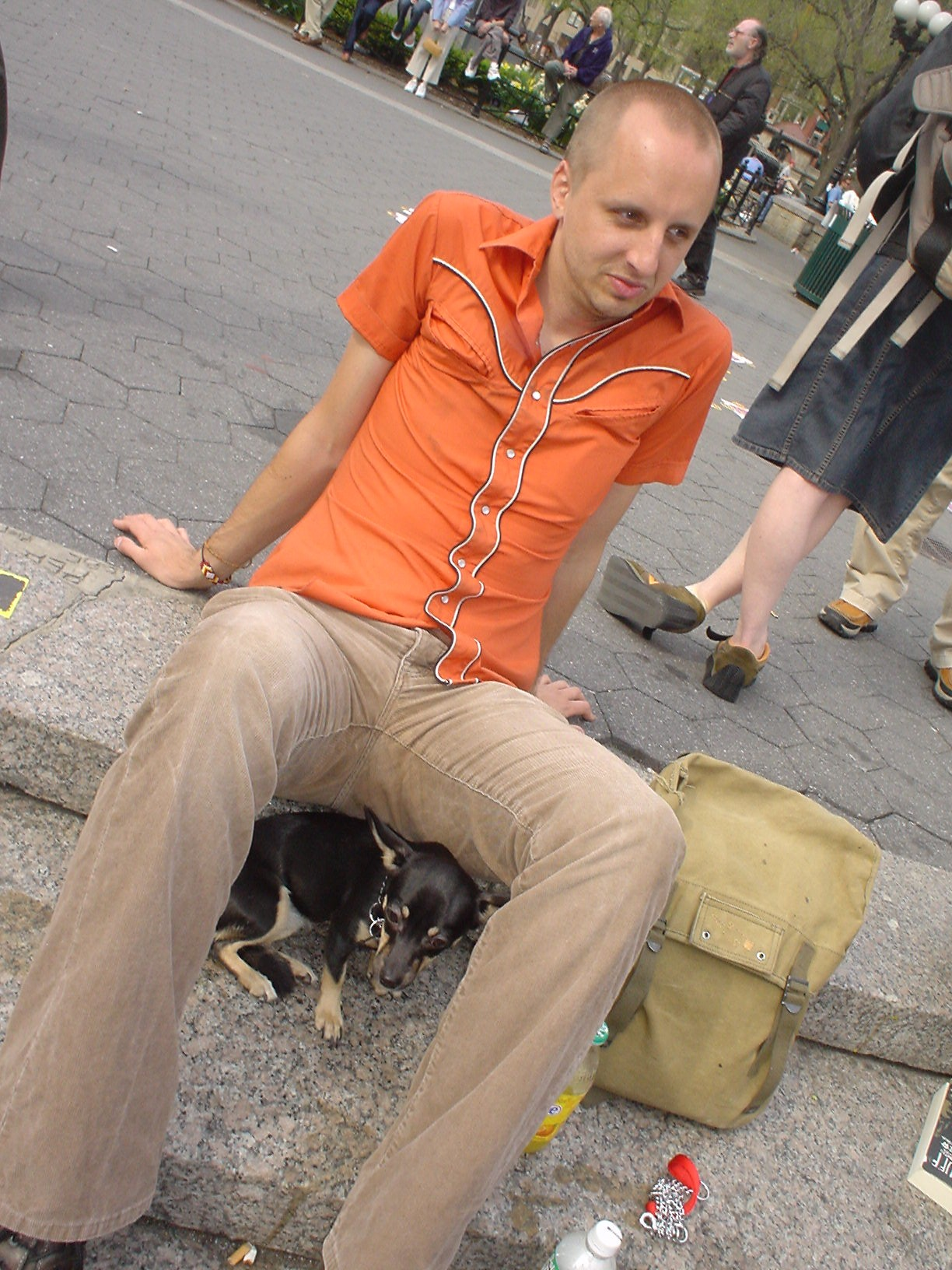Normal Bob with Dog on the steps of Union Square NYC