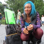 blue haired black girl
