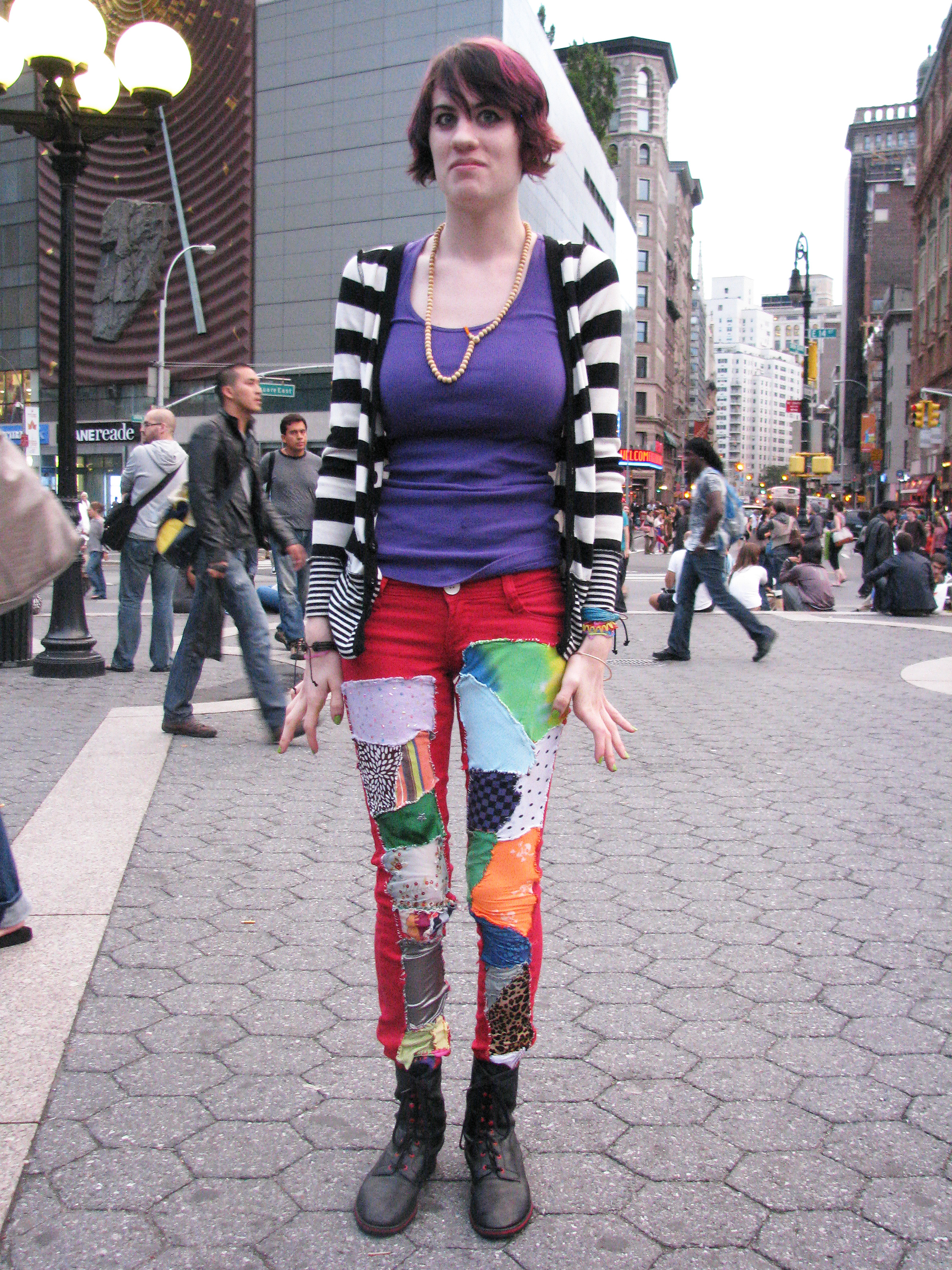 Alternative girl in patched pants