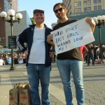 Men with funny sign