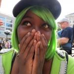 cute girl in green wig