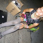 colorful girl in striped tights