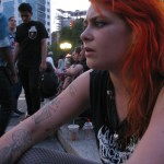punk rock girl with orange hair