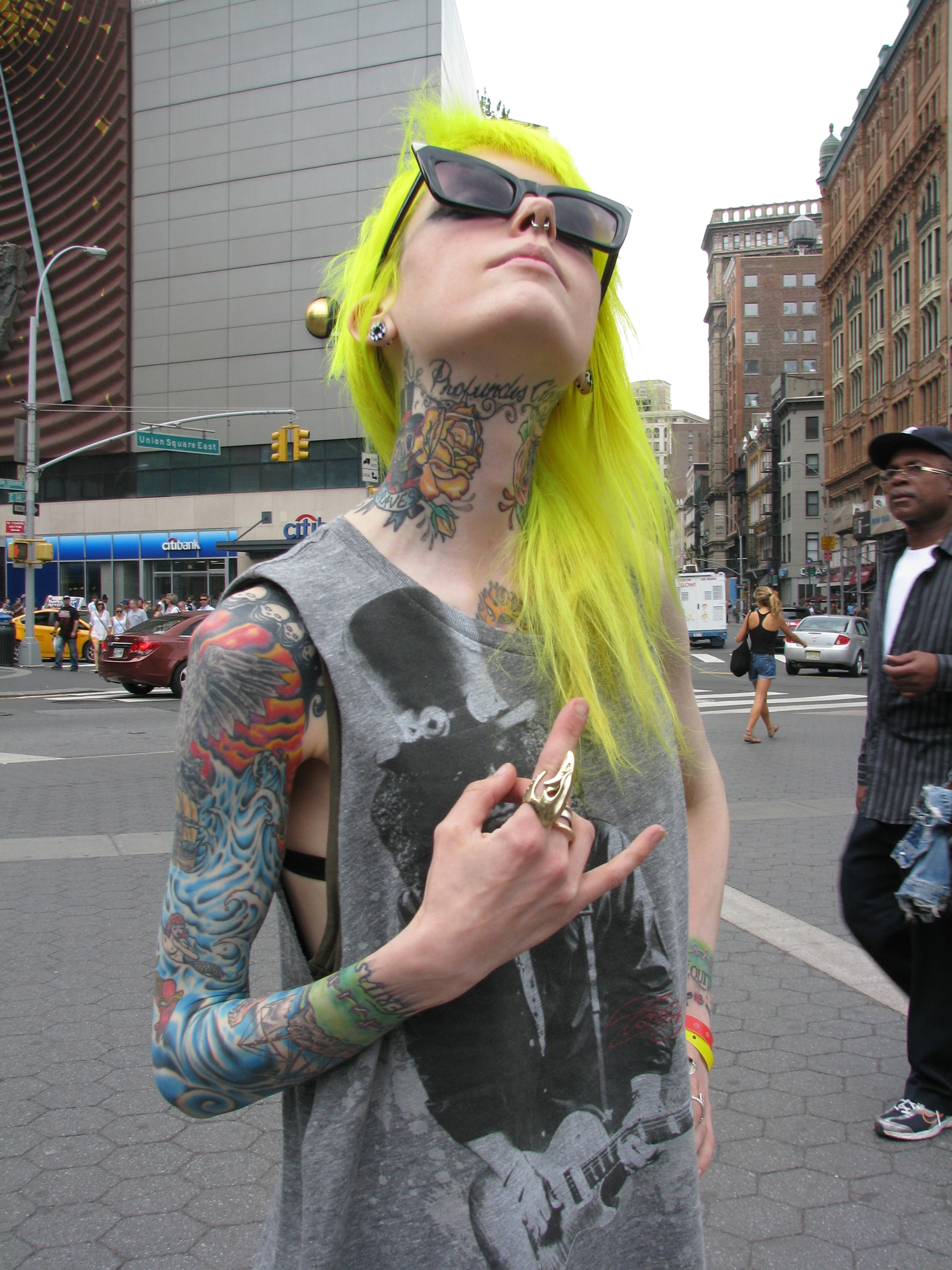 punk girl with yellow hair