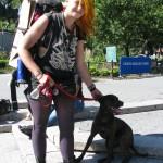 Crusty punk girl with dog
