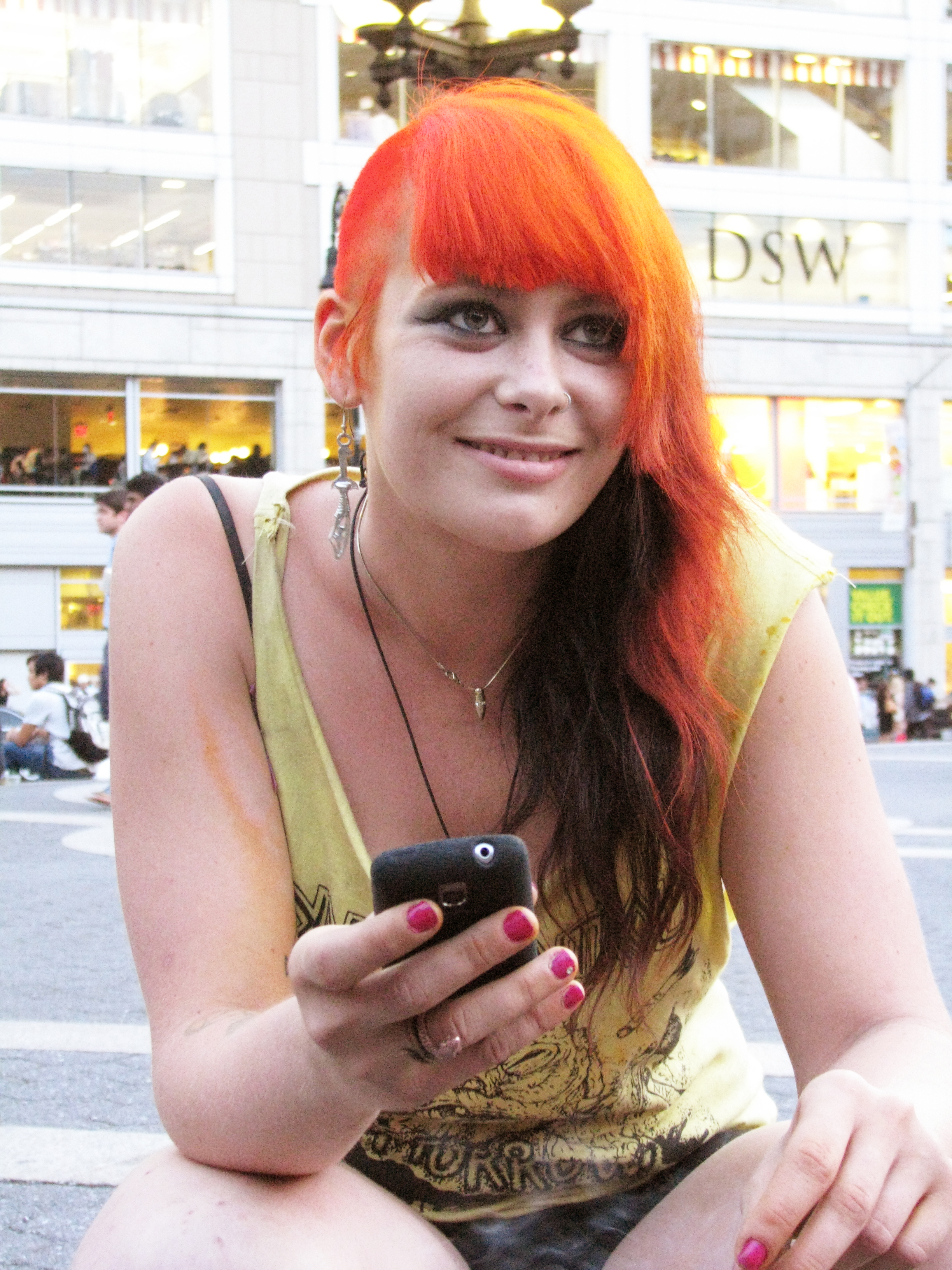 cute punk girl with orange hair