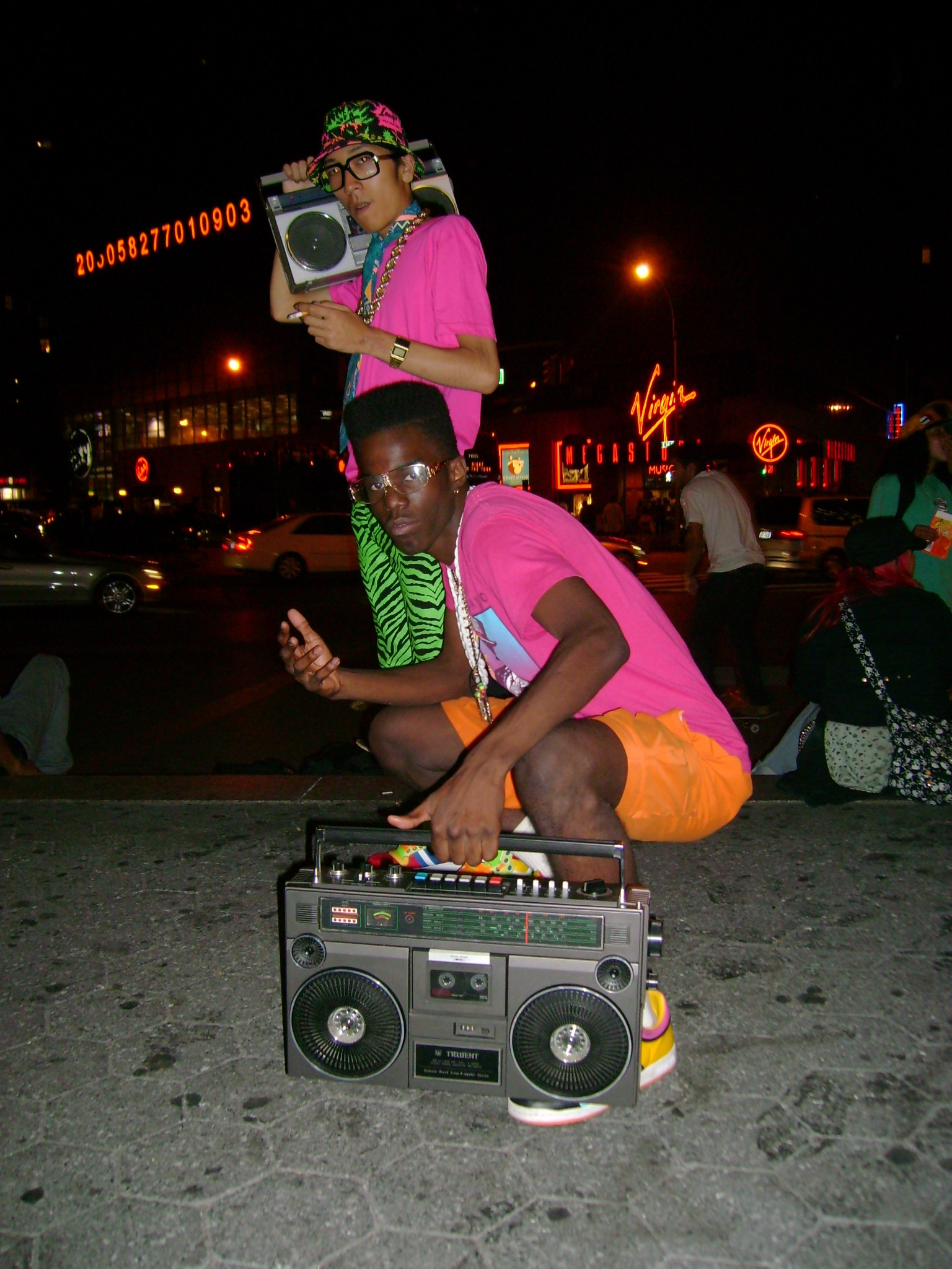 80s Hip Hop kids pose with boom boxes