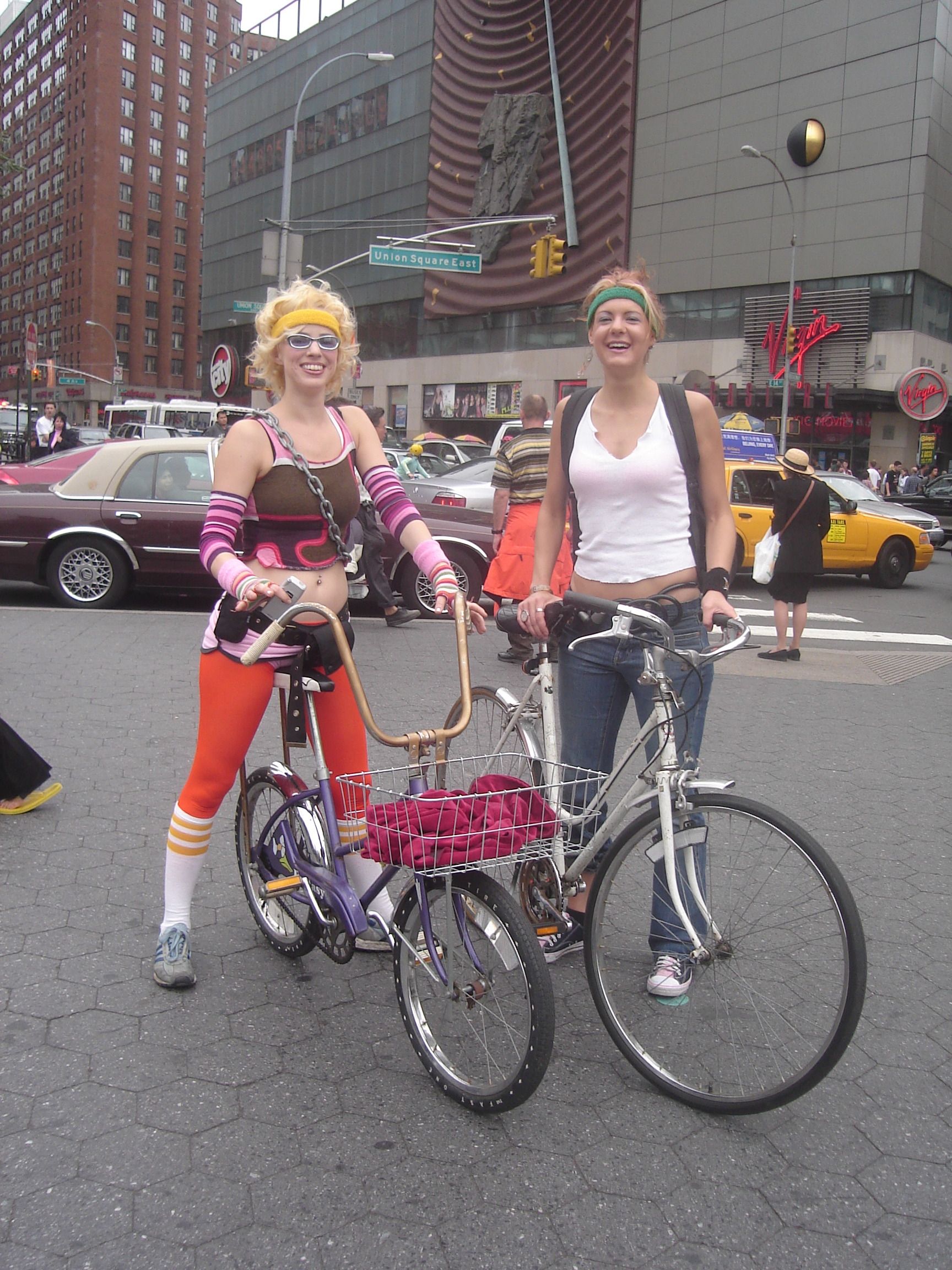 Happy girls on old bikes