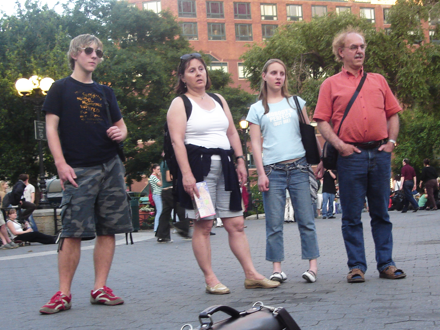 Tourist Family unimpressed with whatever's going on