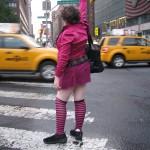 weird woman hailing cab