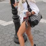 woman showing off leg