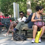 old white man trying to talk to black girl who's ignoring him