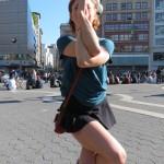 Singer, Actress, Dancer posing stretching exercise