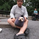 Man in Crocks with Dog in Case