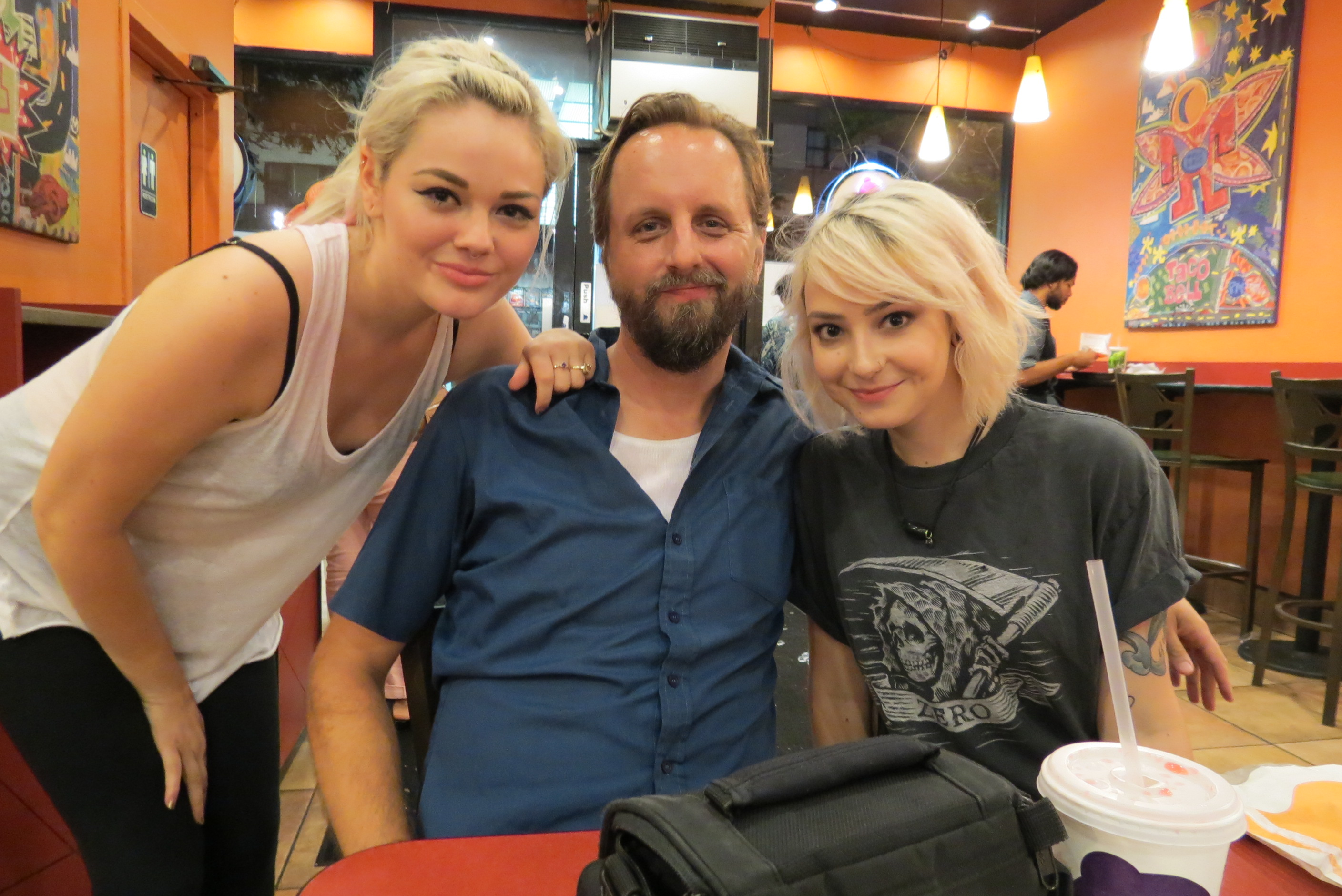 Normal Bob with blonde girls at Taco Bell