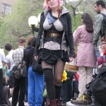Girl wearing corset on top of her clothes