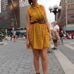 punk scene girl in yellow dress