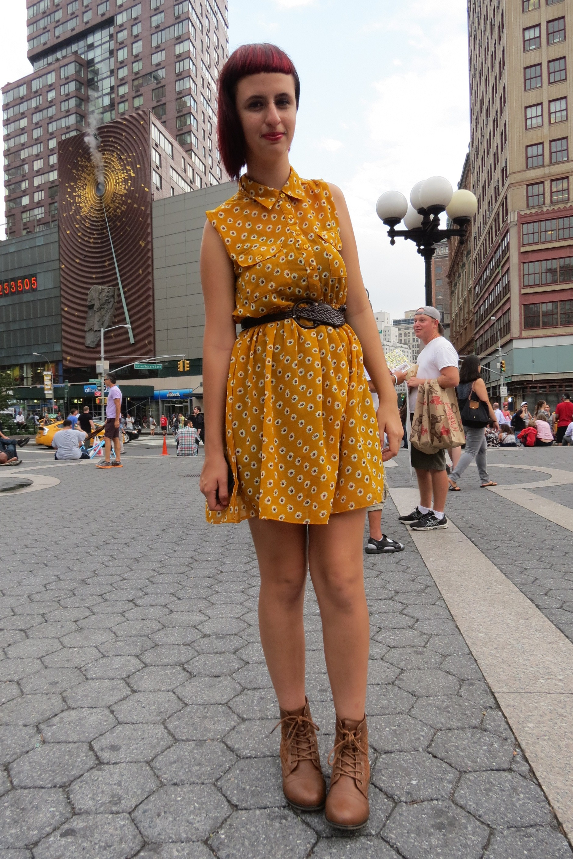 punk scene girl in yellow dress