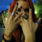 girl shows rings on hands