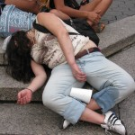 Woman passed out and spilled drink on herself