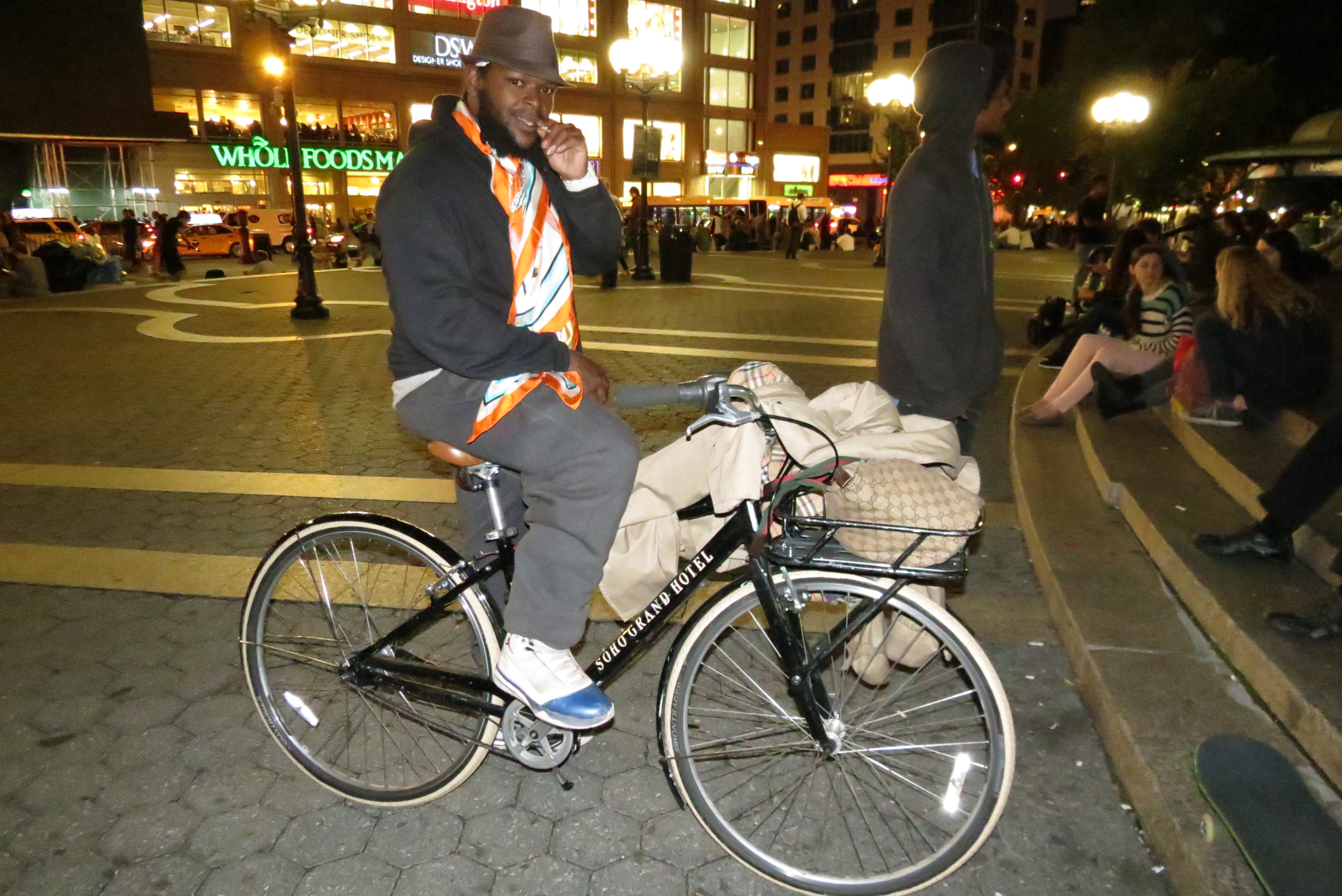 Suave the Poet on the bike he stole from Soho Grand Hotel