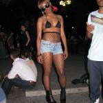 Bikini top woman in heelless boots
