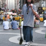 homeless man dressed like boy