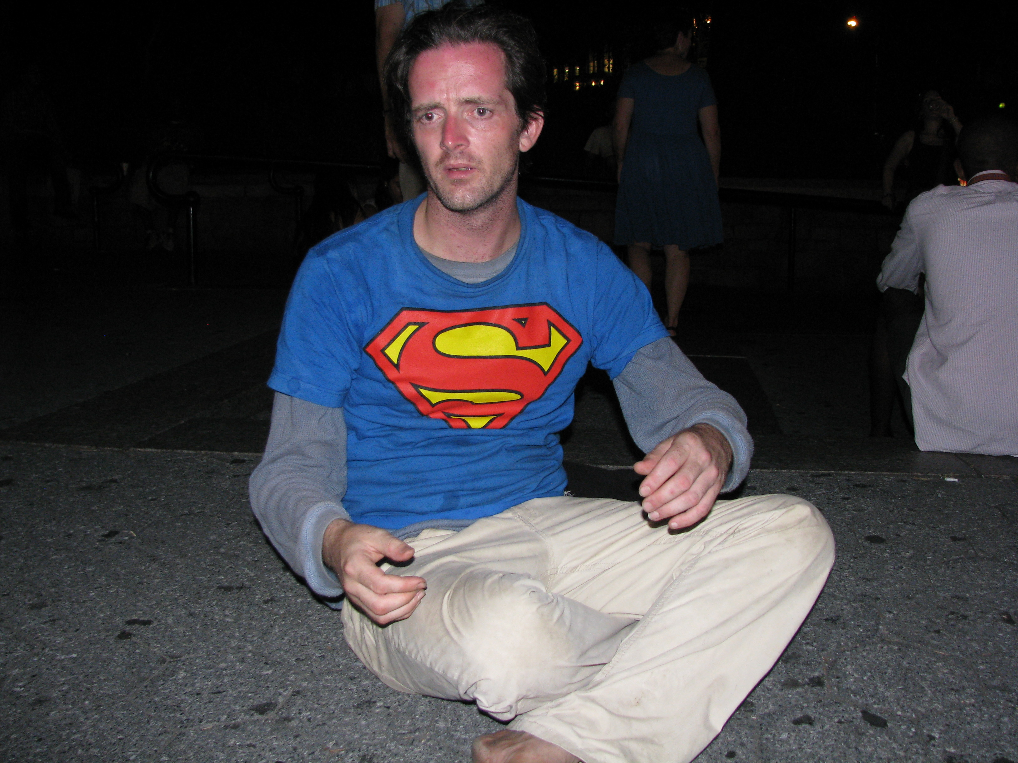 man in superman shirt