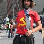 man in red communist shirt