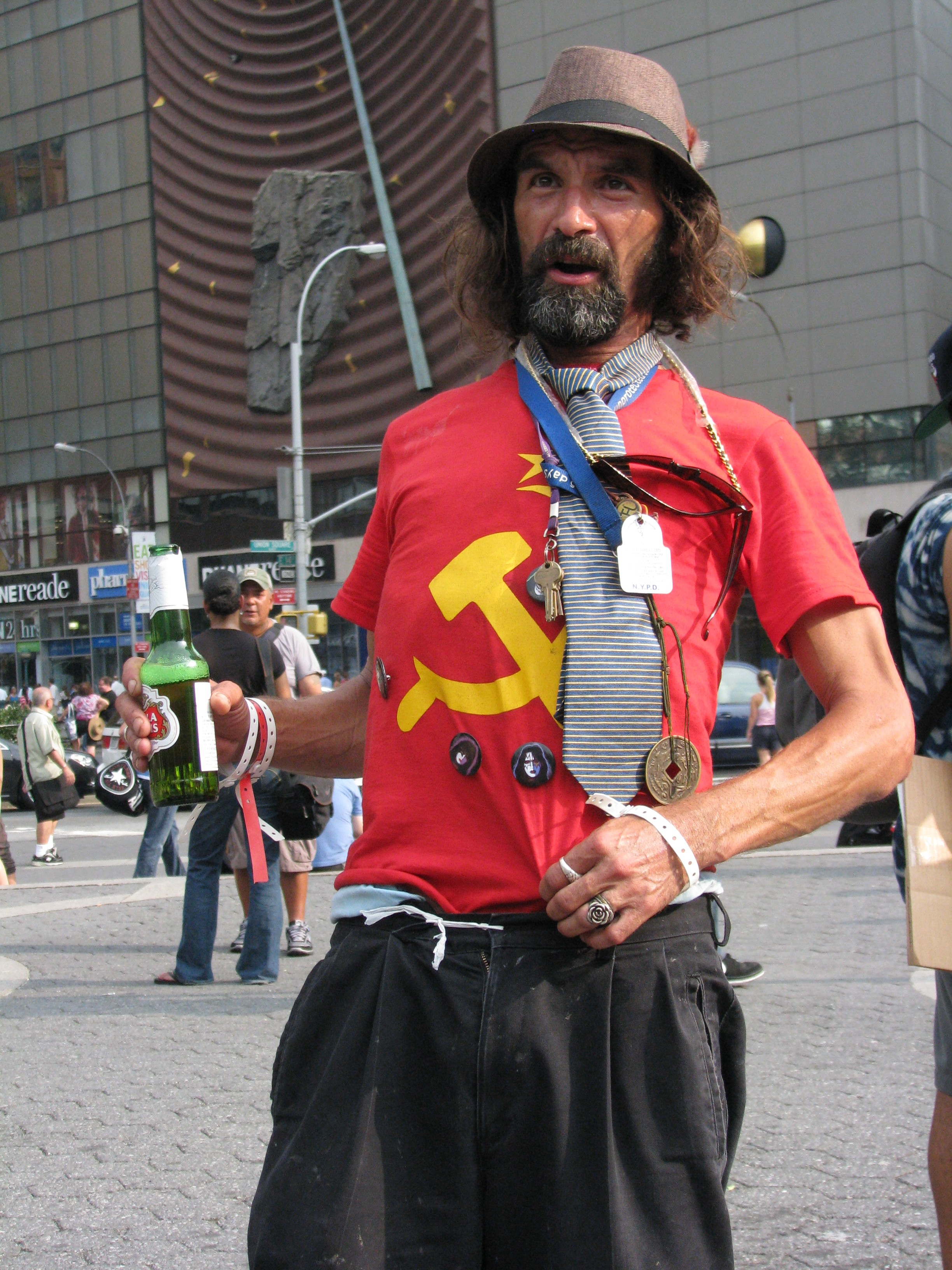 man in red communist shirt