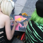 girl drawing at park
