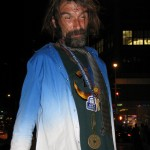 homeless man with swastika on forehead