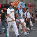 Man dressed as Baby in Diapers under Virgin sign