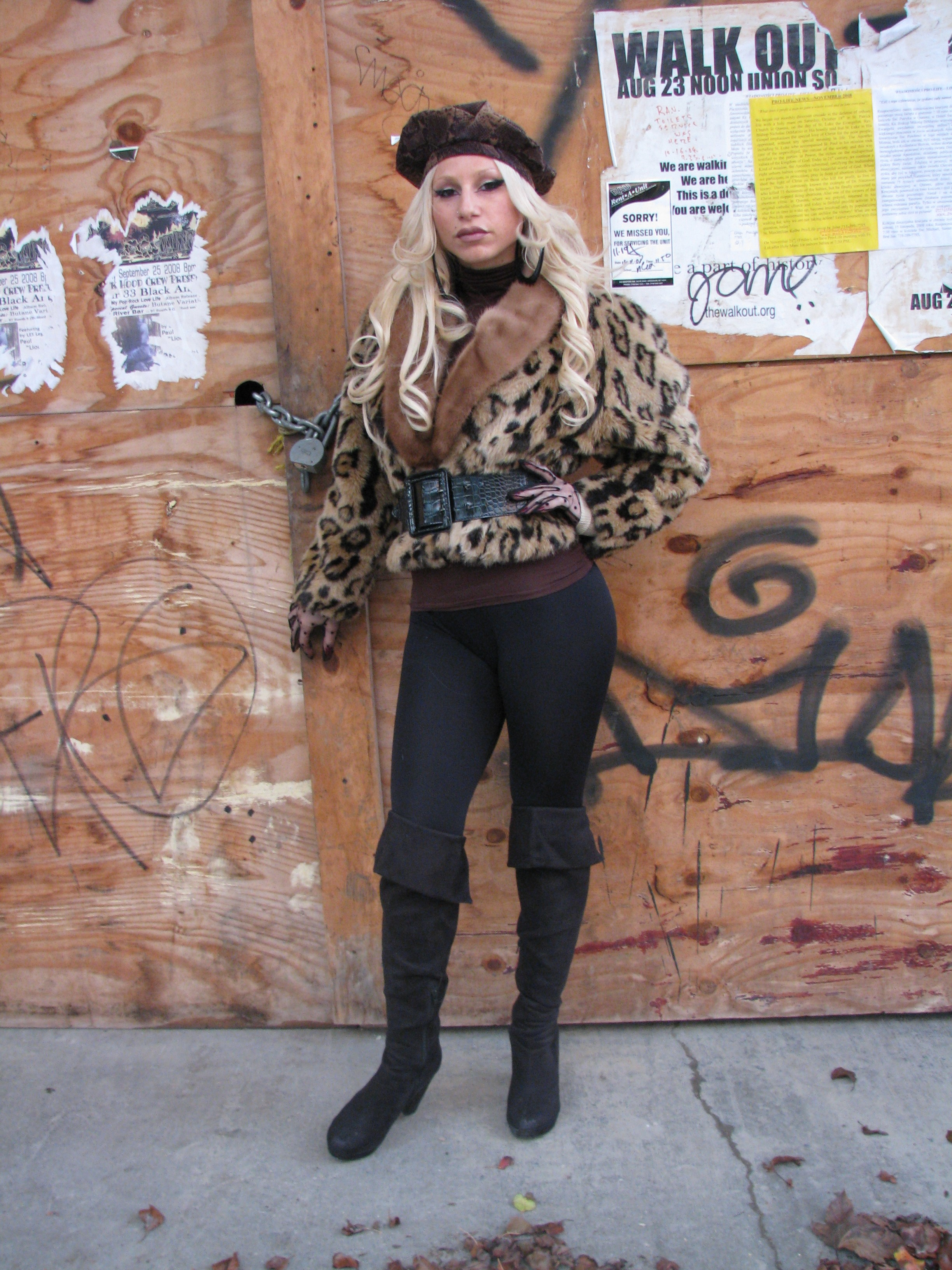 Fashionable woman in fake fur
