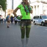 weird girl in devil horns & green stripes