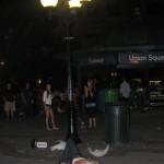 Man pretends to be hurt by freshly fallen lamp
