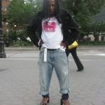 Black man in funny wig