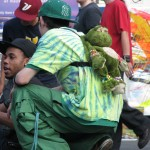 Green Raver with frog backpack