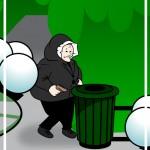 homeless man in coat cartoon