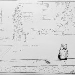 boy sitting all alone at park art