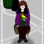 girl with parrot cartoon