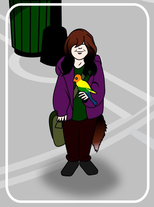 girl with parrot cartoon
