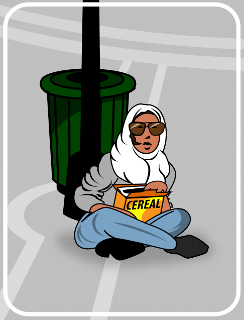 cartoon of woman with cereal box at park