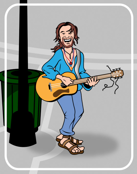 happy guitarist cartoon