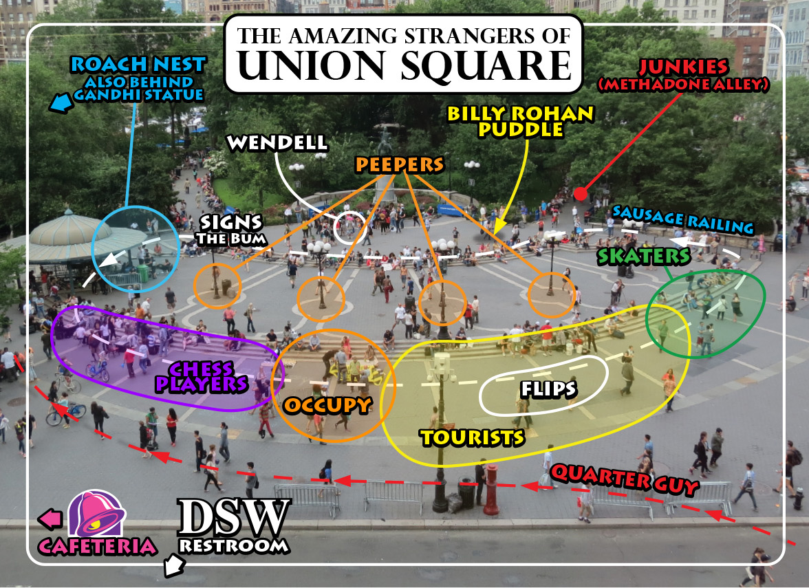 Amazing Stranger map of Union Square