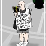 demonstrator in sandwich-board sign cartoon