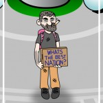 bum with sign cartoon