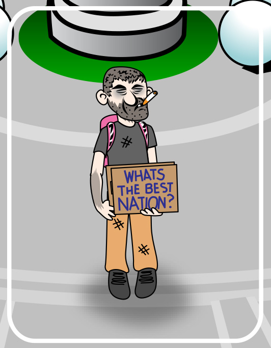 bum with sign cartoon