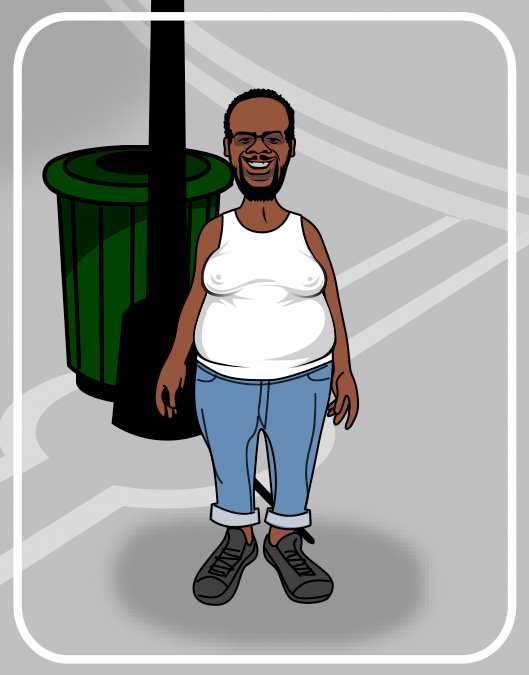 homeless man cartoon